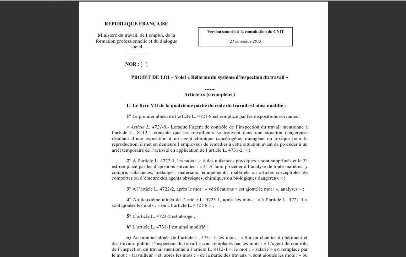 Projet de loi r forme de l 39 inspection du travail cnt for Plan du travail